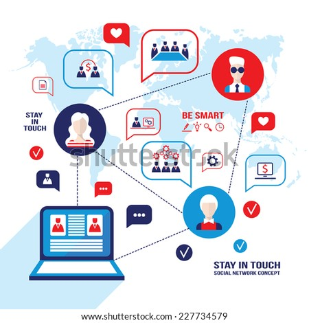 Social network and communication concept. People avatars, laptop computer and business icons. Vector illustration - stock vector