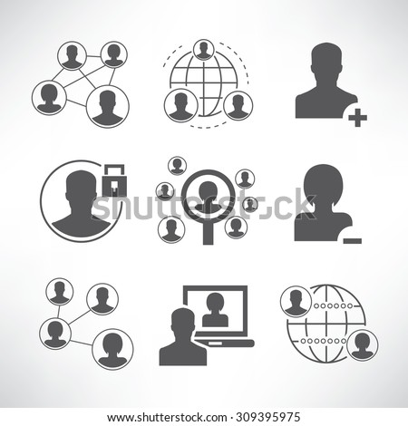 social network and communication icons set - stock vector