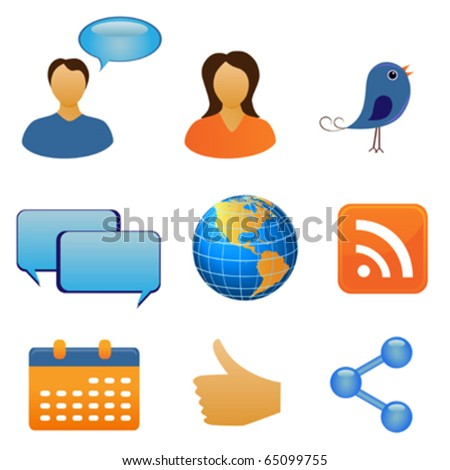 Social network and communication symbols - stock vector