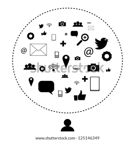 Social network and media icons, pictograms | EPS10 Editable Vector Background - stock vector