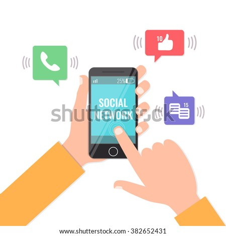 Social Network and smartphone addiction concept. Mobile phone in man hands with notifications: likes, messages, call. Flat style vector illustration. - stock vector