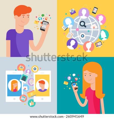 Social network and social media marketing concept, set of vector illustrations - stock vector