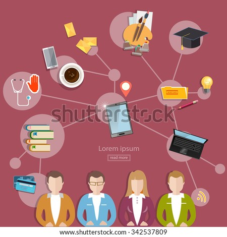 Social network and teamwork concept communication and learning flat style vector illustration - stock vector