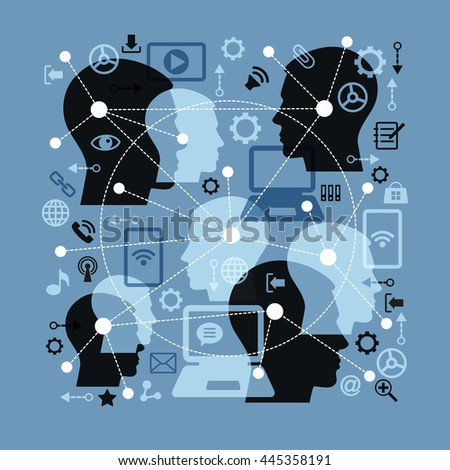 Social network and teamwork concept. Silhouette human heads. Abstract network - point connected by dotted lines. Icons adverse communication and technology.    - stock vector