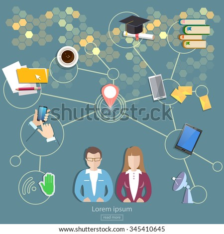 Social network and teamwork people communication concept  - stock vector