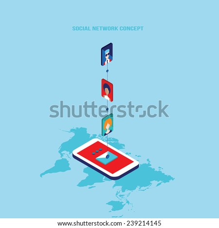 Social network and technology concept Modern flat isometric design - stock vector