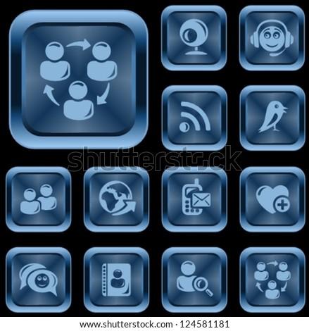 Social network button set - stock vector
