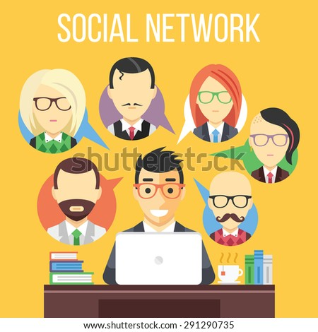 Social network communication flat illustration. Flat design concepts for web banners, web sites, printed materials. Creative vector illustration - stock vector