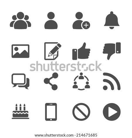 social network communication icon set, vector eps10. - stock vector