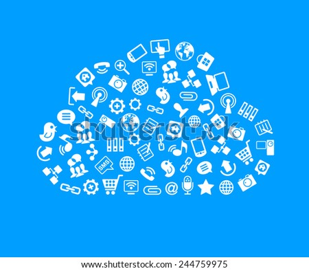 Social network, communication in the global computer networks. Interface icons in the form of a cloud. Monochrome flat vector illustration - stock vector