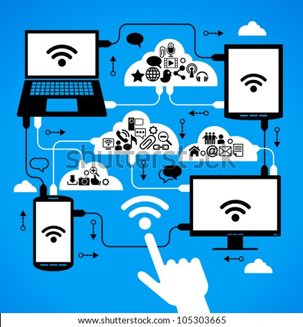 social network, communication in the global computer networks. laptop phone tablet  Connection. - stock vector