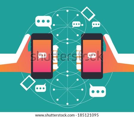 Social network, Communication on Smart phone, Flat design Element, Vector - stock vector