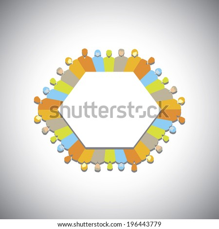 social network, community, executives meeting - concept vector. This graphic illustration can also represent unity & diversity, meeting, sharing, group activity, teamwork, team spirit, cooperation - stock vector