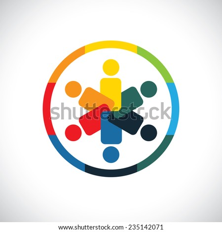 social network community friends partners - concept vector graphic. This icon also represents being together unity symbol, friendship, partnership, business teamwork cooperation - stock vector