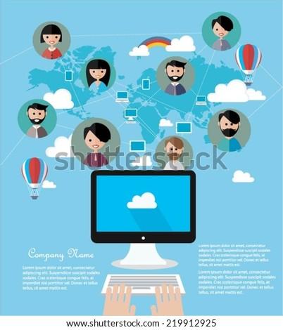 Social network concept - stock vector