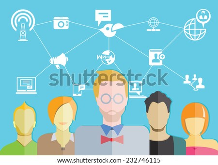 social network concept and people - stock vector