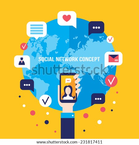 Social network concept Businessman hand with mobile smart phone Global communication infographic elements - stock vector