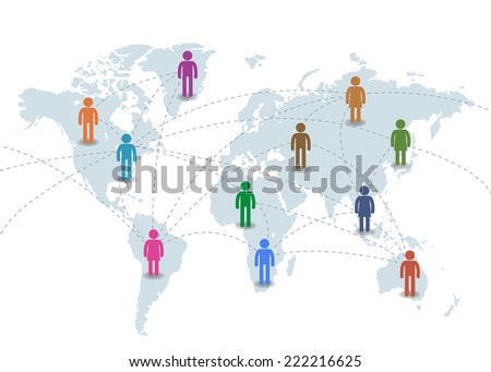 Social network concept. Colorful Pictogram people on world map connection by line.