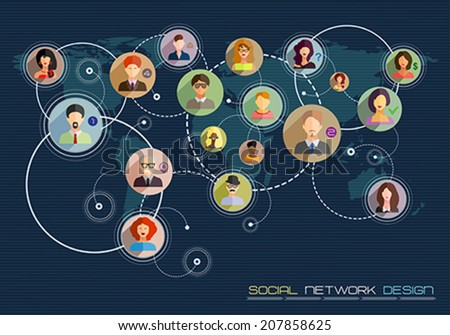 Social network concept. Flat design for web sites and infographic design. Touch icon, hand with pressed finger in flat style. Vector Illustration.  - stock vector