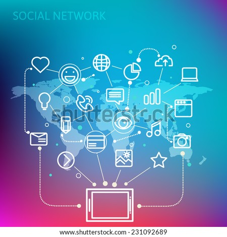 Social network  concept for web and tablet PC. Line style vector illustration eps 10
