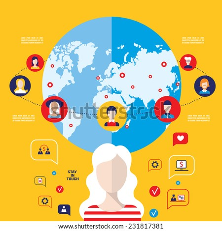 Social network concept. Global communication, infographic elements. Vector illustration - stock vector