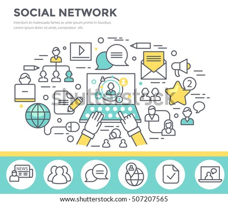 Social network concept illustration, thin line flat design