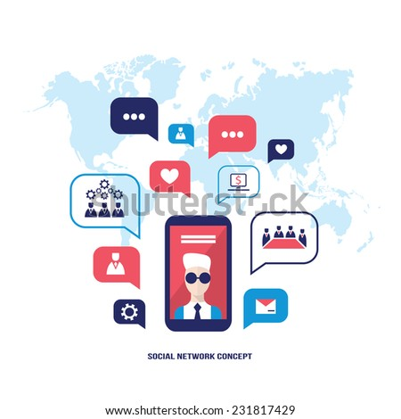 Social network concept  Mobile smart phone with speech bubbles and business icons Infographic elements - stock vector