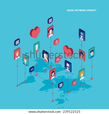 Social network concept Modern flat isometric design - stock vector