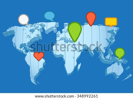 Social network concept. The Earth map in perspective - stock vector