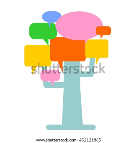 Social network concept. Tree with speech bubbles leaves. - stock vector