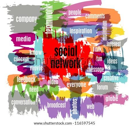 social network concept, vector illustration, with strokes - stock vector