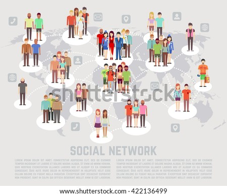 Social network concept with flat characters of people.  - stock vector