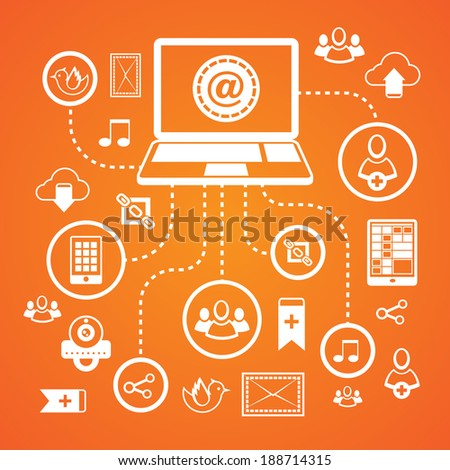 Social network concept with laptop connected to web communication icons vector illustration