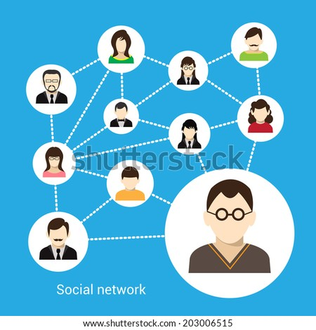 Social network concept with male and female avatars connected vector illustration