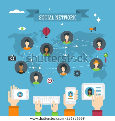 Social network concept with people avatars and flat icons - stock vector