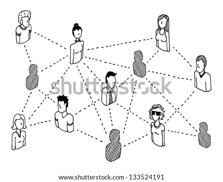 Social network connecting / People relations - stock vector