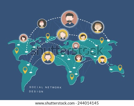 social network design concept in flat style - stock vector