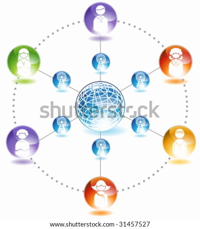 Social Network Diagram : Chart representing a network of people communicating with each other.