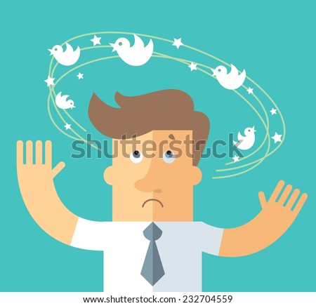Social network dizziness. business metaphor illustration. business man with flying bird around his head. - stock vector