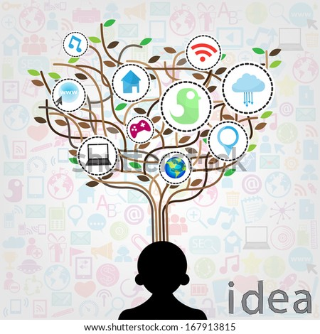 Social network education concept pencil tree with multimedia icons leaves. Vector illustration  - stock vector