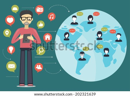 social network flat concept - stock vector