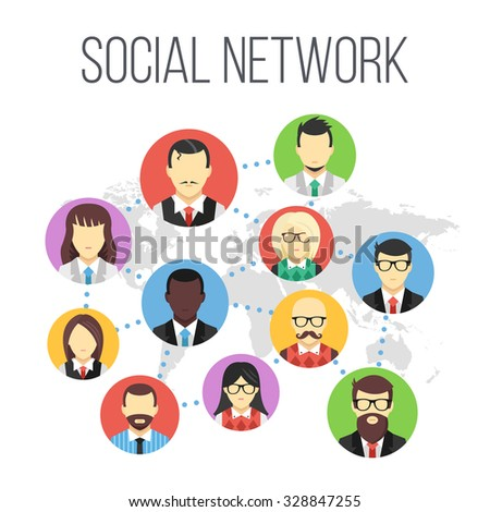 Social network flat illustration. Flat design concept for web banners, web sites, printed materials, infographics. Creative vector illustration - stock vector
