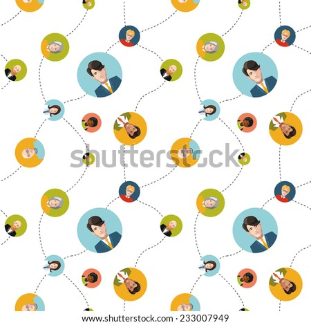 social network flat seamless pattern on white