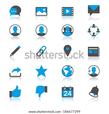social network flat with reflection icons - stock vector