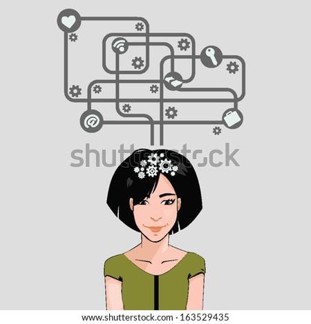social network girl concept - stock vector