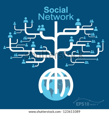 social network globe worldwide / vector - stock vector