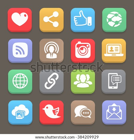 Social network icon for web, mobile. Vector illustration - stock vector