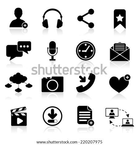 Social network icons black set with web navigation elements isolated vector illustration - stock vector