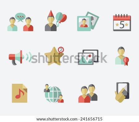 Social network icons, flat design - stock vector