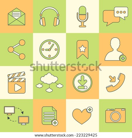 Social network icons flat line set with communication user interface elements isolated vector illustration